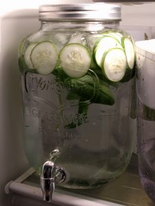 cucumber and basil infused water in my fridge.